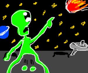 Alien testicles fell off