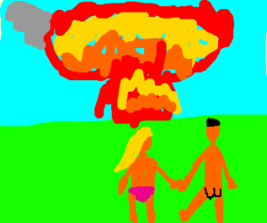 lovers watch an explosion.
