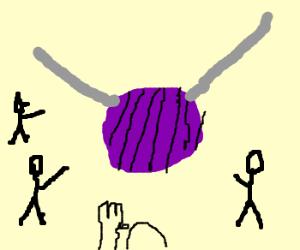 All Hail the Ball of Yarn and knitting needles