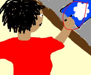 Man paints a cloud