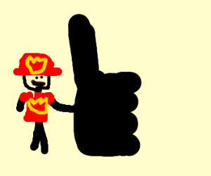 Fireman gives thumbs up