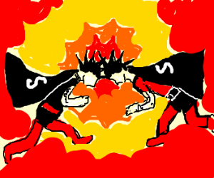 Punk superheroes colide causing an explosion