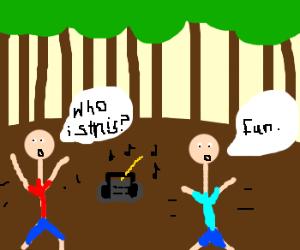 having fun in the woods