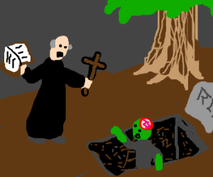 Priest attempts to exorcise a zombie in grave