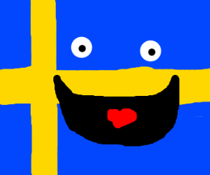 In Sweden, even the flag is happy!