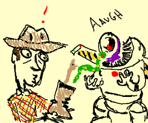Buzz is shocked at Woody's reptile-filled boot