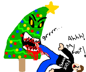 Mean christmas tree hurts man's foot