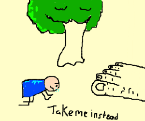 A man pleads with a giant not to eat a tree.