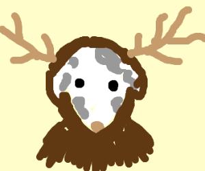 dog dressing up as moose