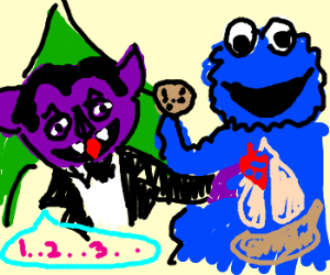 The Count is counting Cookie Monsters organs