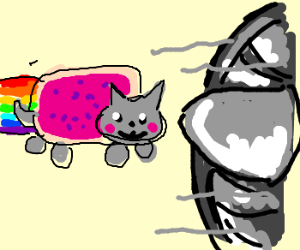 Nyan hits a jet engine...