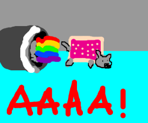 Nyancat Gets Sucked into a Jet Engine!