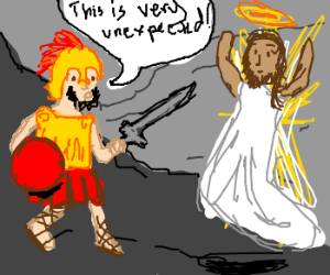 Jesus unexpectedly visits Spartan soldier