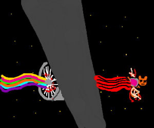 Nyancat gets sucked into jet engine