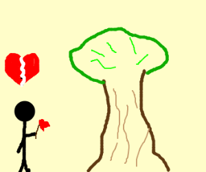 Man with rose, in front of tree, heartbroken