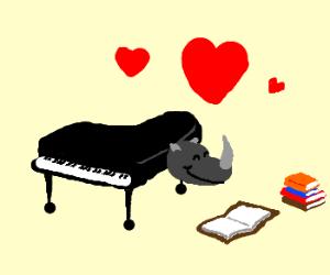 Piano-Rhino love books