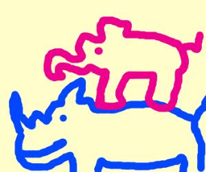 a giant pink elephant riding a blue rhino