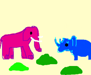 pink elephant humps blue rhino