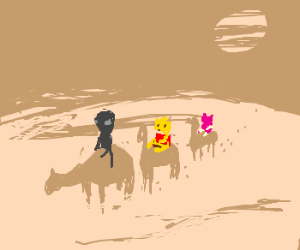 alien takes Pooh and pals on a desert ride