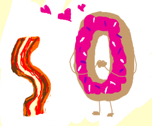 donut loves bacon 3 hearts worth