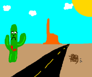 Sad, lonely cactus with a broken heart