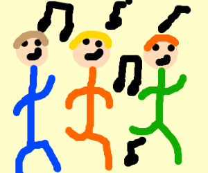 three guys are dancing