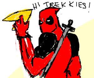 Deadpool uses Star Trek logo as boomerang.