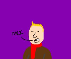 Man wearing scarf talking