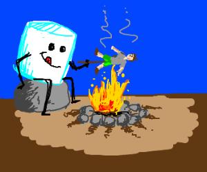 Marshmallow Roasting Human Over Campfire