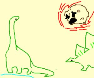 Meteor is sad that he killed all the dinosaurs