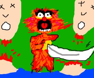 Muppet's Animal decapitates Siamese twins