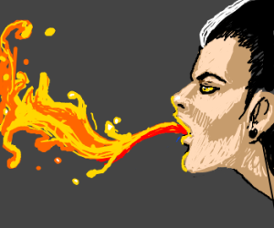 Skunk haired punk breathes flames