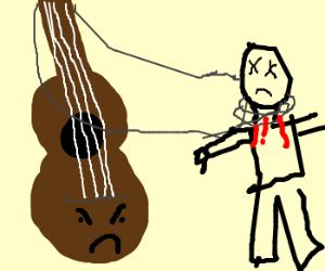 Self-aware guitar strangles man to death.