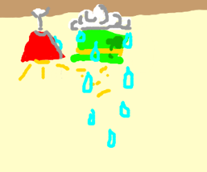 Leprechaun being rained on indoors.