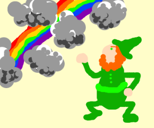 leprechaun is angry at stormy rainbow clouds