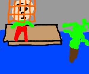 Karl Pilkington wears a birdcage in a flood.