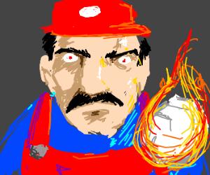 Mario readies a fireball