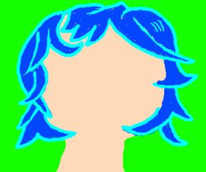 faceless blue haired girl