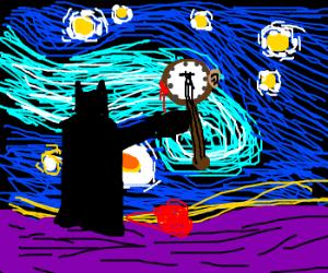 Batman destroying his banjo, Van Gogh style