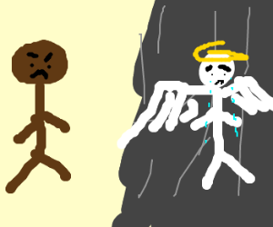 black man upset with weeping angel