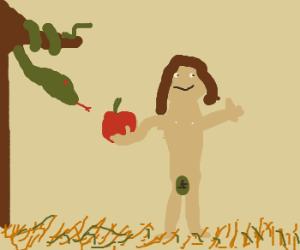 Eve offers the serpent an apple