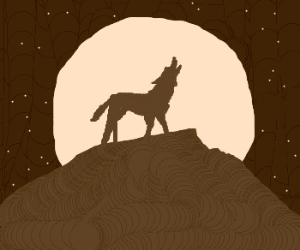 Wolf howls upon mountaintop.