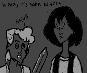 Bill and Ted with sword, exploring a cave
