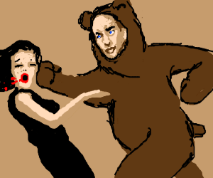 Nic Cage in a bear suit punches a woman
