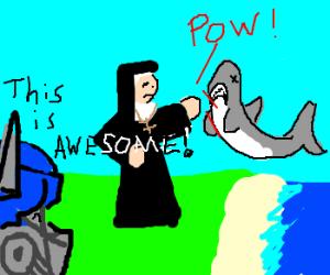 Nun punches a shark while transformer watches