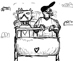 Zacharie and the Batter ride a roller coaster
