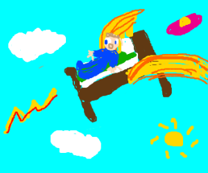 Crazy journey through the sky on a flying bed