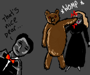 Man dressed as bear punches woman in face.