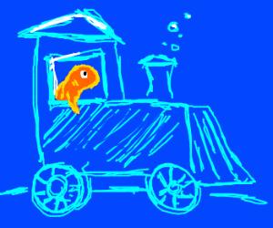 Goldfish driving a blue underwater train