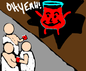Kool-Aid Man at a toga party